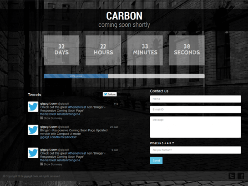 Carbon – Responsive Coming Soon Page