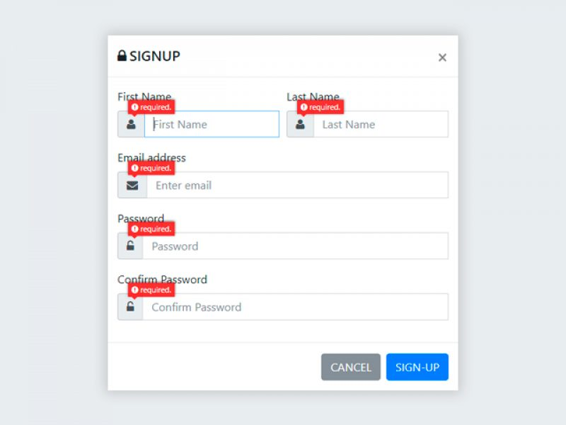 Bootstrap Modal Popup Signup Form with Validations