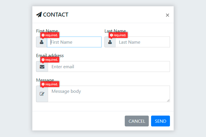 Bootstrap Modal Popup Contact Form with Validations